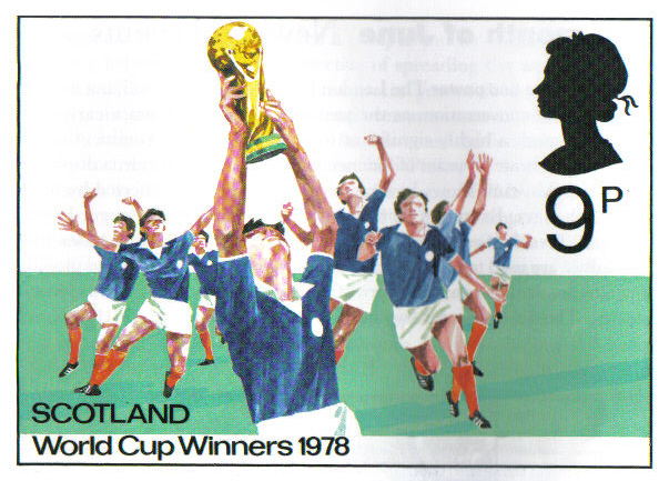 Unissued Royal Mail stamp design prepared for release if Scotland had won the 1978 World Cup Finals in Argentina